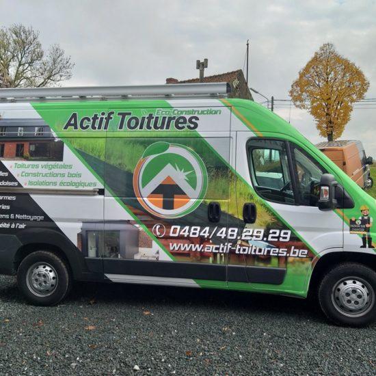 Full covering d'une camionnette pour Actif Toitures