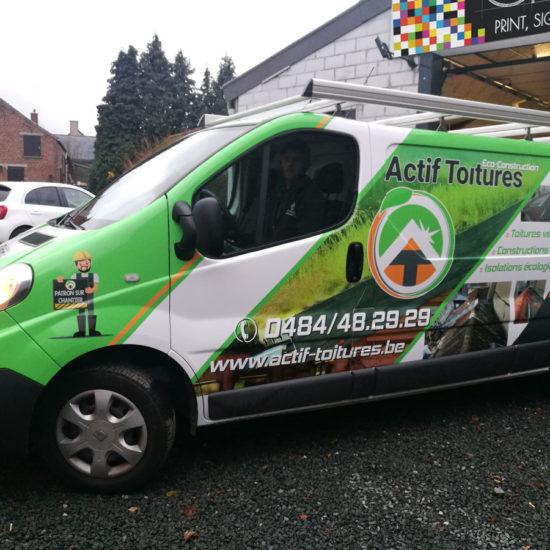 Full covering d'une camionnette pour Actif Toitures - Grafipix