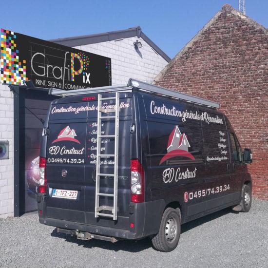 Lettrage d'une camionnette pour ED Construct - Grafipix