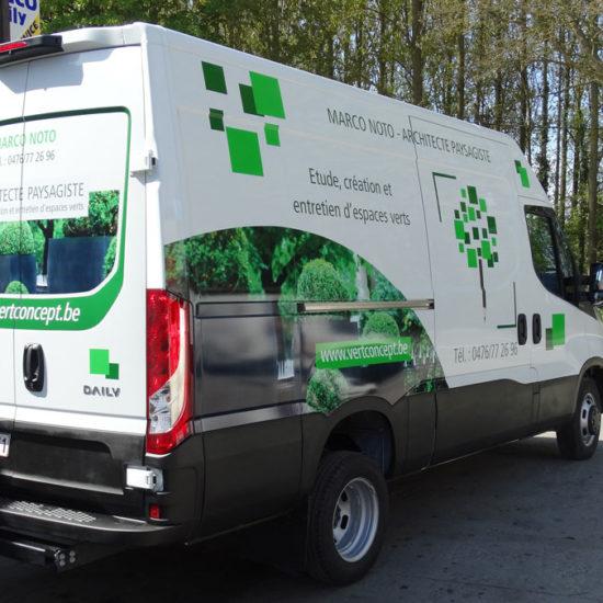 Lettrage et covering d'une camionnette pour Vert Concept - Grafipix