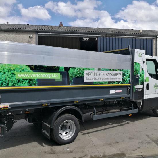 Lettrage et covering d'un camion pour Vert Concept - Grafipix