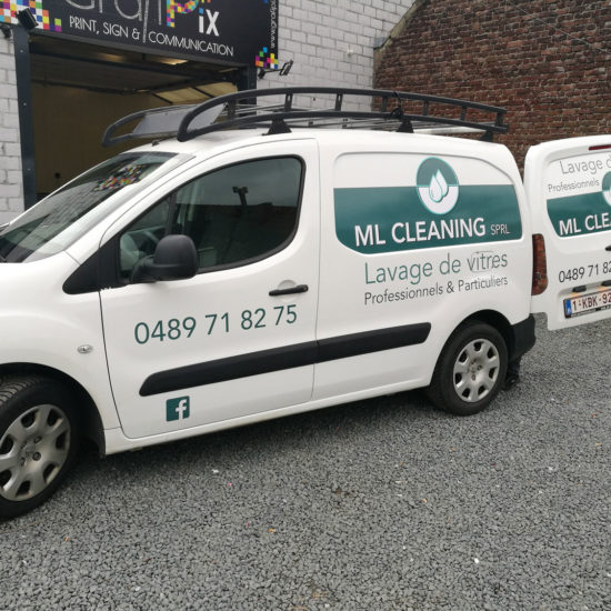 Lettrage de camionnettes pour ML Cleaning, société de nettoyage de vitres - Grafipix, votre partenaire en communication visuelle
