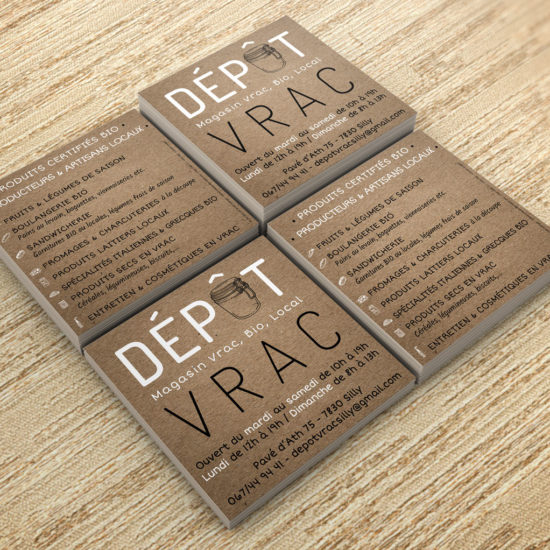 Flyers pour Dépôt Vrac à Silly par Grafipix, votre partenaire en lettrage, création graphique etc.